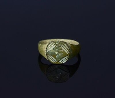 Ancient Roman Bronze Ring With Symbols On The Bezel - T9