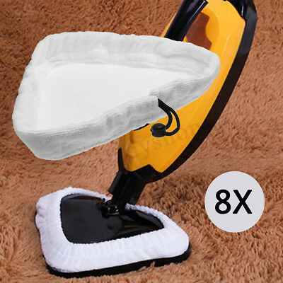 8Pcs Steam Mop Cleaning Pad Cloths Cover Cussion Microfiber Replacement Washable