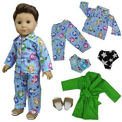 5pcs Pajamas Nightdress Outfits Handmade Clothes Grown for 18 inch Boy Doll Gift