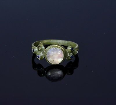 Roman bronze ring wih clear and blue stones  - T21