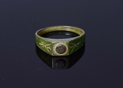 Medieval Period Bronze Decorated Horseman's Ring With Inset Stone Bezel  - T28