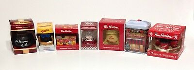 Set of 6 Tim Hortons Coffee CHRISTMAS HOLIDAY Ornaments ~ 2010 - 2017 New + Asst