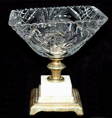 American Brilliant Period Cut Crystal Candy Bowl Pinwheels Marble Metal Base US