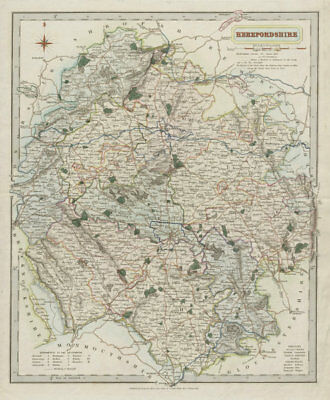 Herefordshire antique county map by J & C Walker. Hand coloured 1835 old
