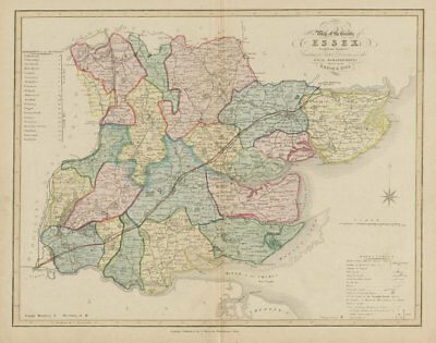 'New map of the county of Essex' post Reform Act, by James Duncan. Coloured 1833