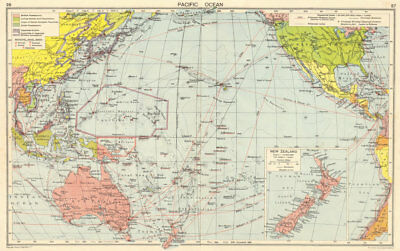 WW2 Pacific Ocean. Japanese-occupied China Indochina Philippines 1942 old map