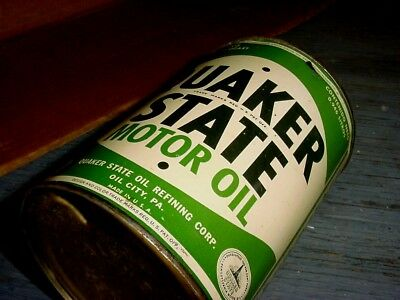 NEAR MINT 1950s Vintage QUAKER STATE MOTOR OIL Old 1 qt Tin Can