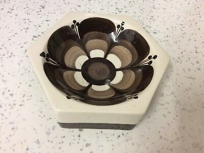 Vintage Jersey Pottery Cream Brown Hexagonal Pin or Snack Dish 1970s