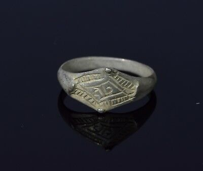 Medieval Viking Silver Ring With Runic Script - T44