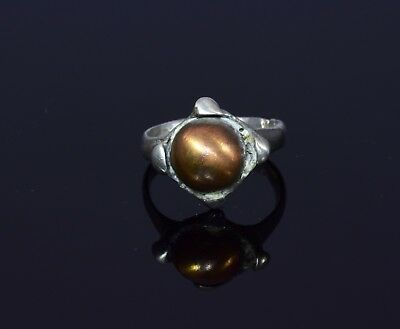 Medieval Viking Silver Ring With Original Copper Bead In Bezel - T53