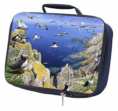 Puffins and Sea Bird Montage Navy Insulated School Lunch Box Bag, AB-93LBN
