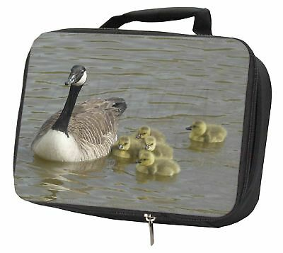 Canadian Geese and Goslings Black Insulated School Lunch Box Bag, AB-G1LBB