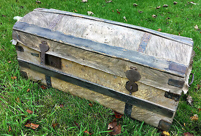 RARE 18th Century Wild Boar Skin & Pine Domed Travel Trunk. Dated 1766