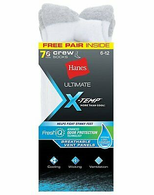 Hanes Ultimate X-Temp FreshIQ Men's Crew White 7-Pk (Includes 1 Free Bonus Pair)