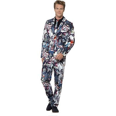 Zombie Print Stand Out Suit Halloween Horror Adults Mens Fancy Dress Costume