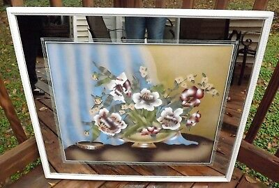 Original Signed Terone Art Deco Air Brushed Floral Painting Framed Mirror Matted