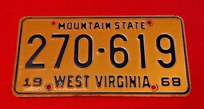 1968 WEST VIRGINIA LICENSE PLATE TAG # 270 - 619 MOUNTAIN STATE  *** Nice ***