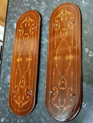 Beautiful Inlaid Mahogany Edwardian Door Finger Plates