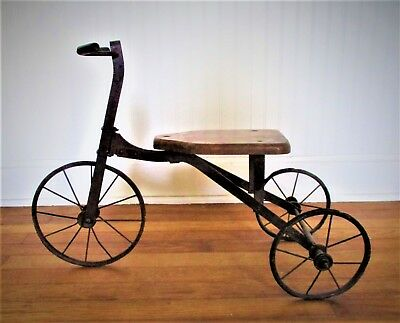 Antique Child's Wood and Metal Tricycle