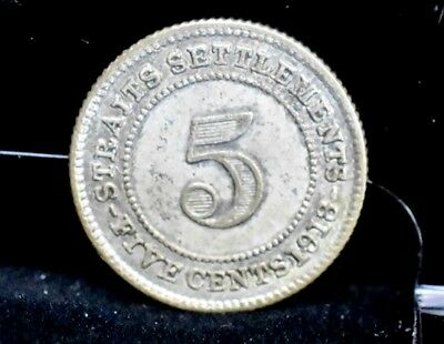 1918 Straights Settlements 5 Cents Silver - XF