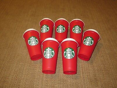 Lot of 7 2018 Starbucks Holliday Red Reusable Travel Cups - (Grande 16 Oz)