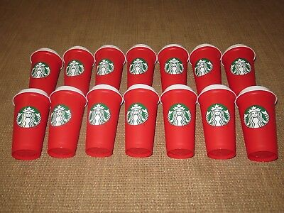 Lot of 14 2018 Starbucks Holliday Red Reusable Travel Cups - (Grande 16 Oz)