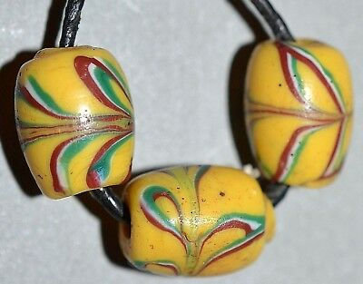Antique Venetian Yellow Lampwork Combed Feather Italian Beads African Trade