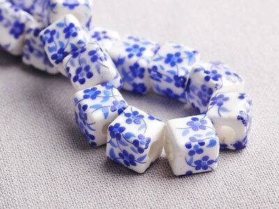 NEW 10pcs 10mm Cube Square Ceramic Spacer Loose Beads Flowers Pattern #4