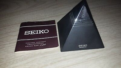 Vintage Seiko Quartz Talking Pyramid Alarm Clock Black with design on back