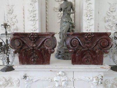 2 FABULOUS Old Architectural Carved Wood HALF CAPITALS Ornate Chippy PATINA
