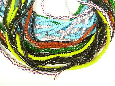 12 Strand Mixed Lot Collection Czech Tribal Glass Trade Beads African Striped