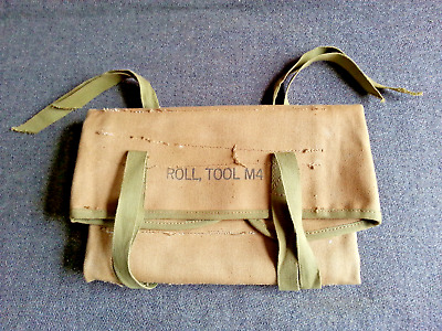 Vintage Most likely WWII era US Army Tool Roll M4 for Gun Cleaning Tools