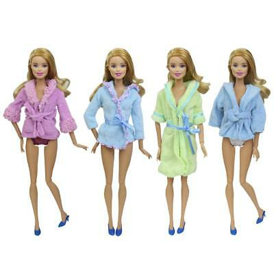 """2 Sets Clothes With Nightwear Bathrobes Shoes Panties or Towel For 11.5"""" IN Doll"""