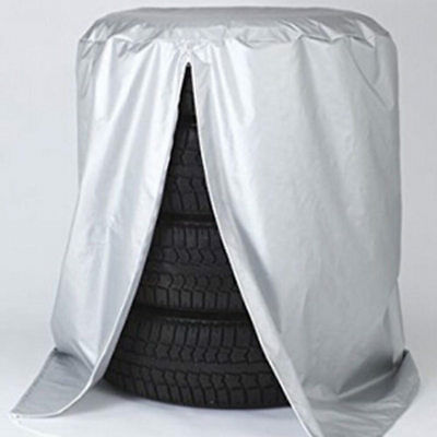 """32"""" Car Tire Storage Bag Spare Wheel Dustproof Protective Cover 4 Tires Silver"""