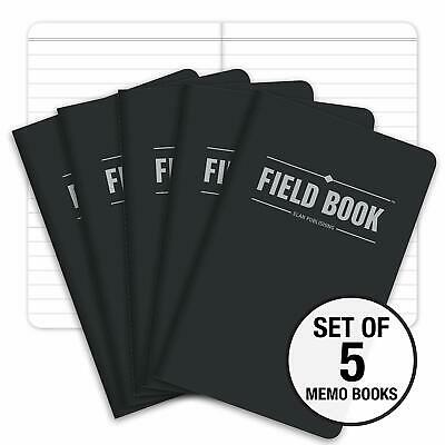 """Field Notebook 3.5"""" x 5.5"""" Pocket Journal Lined Memo Book, Black Pack Of 5"""