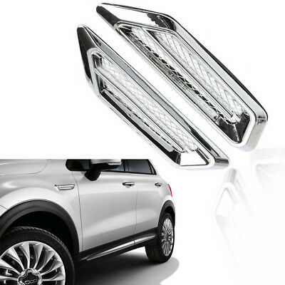 2X Car SUV Chrome Air Flow Intake Vent Fender Side Exterior Decora Sticker Cover