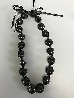 Hawaiian Black Kukui Nut Lei Chocker Boho Bead Necklace