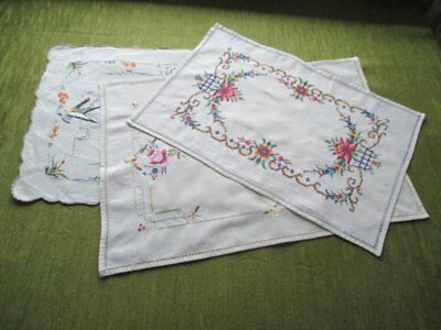 VINTAGE MADEIRA TRAY CLOTHS - COL. of 3 - HAND EMBROIDERED