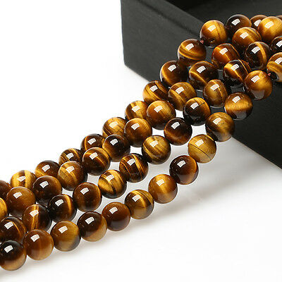 "Natural Tiger's Eye Gemstone Round Spacer Beads 15.5"" 4MM 6MM 8MM 10MM 12MM 14MM"