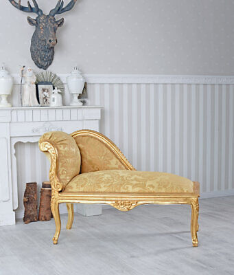 CHAISELONGUE RECAMIERE GOLD BOUDOIR SOFA ROKOKO OTTOMANE Sitzbank Hocker Bank