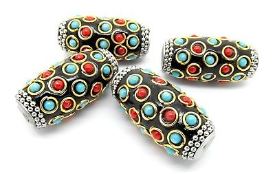 5 Blue Indonesian Beads Handmade Ethnic 15mm Ornamental With 2mm Hole P00186S