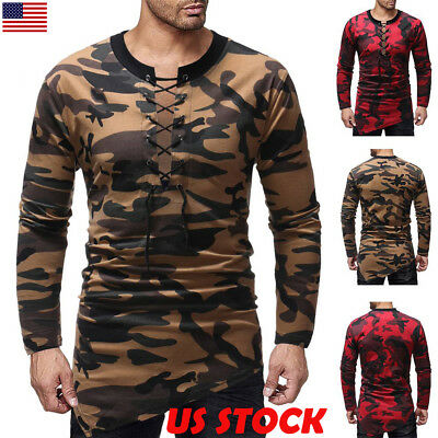 Mens Front Lace Up T-Shirt Long Sleeve Casual Tee Camo Slim Fit Shirts Tops USA