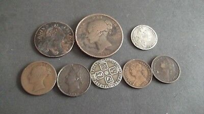 JOB LOT OF INTERESTING OLD COINS WITH SILVER   99p SPG-3