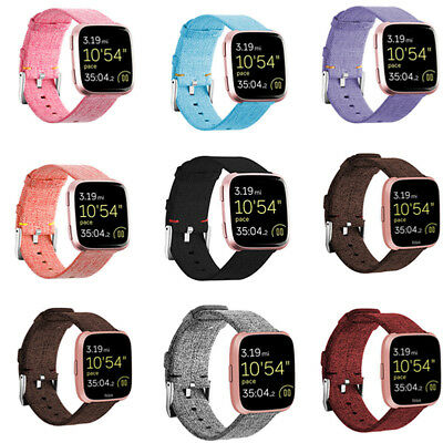 For Fitbit Versa Woven Fabric Canvas Wrist Strap Watch Band Stainless Buckle CHW