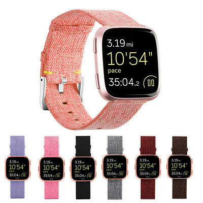 For Fitbit Versa Woven Fabric Wrist Strap Watch Band Classic Stainless Buckle CL