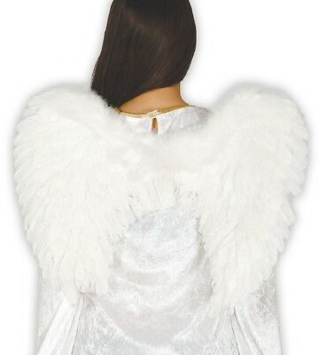Ladies White Feather Angel Christmas Xmas Fancy Dress Costume Outfit Wings