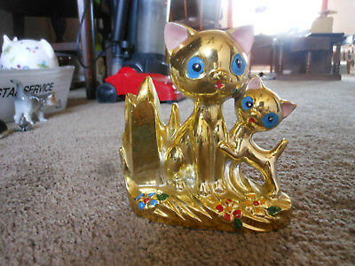 Very Unique Gold Painted Siamese Cats, Mother And Kitten Bank, Htf, Rare Piece