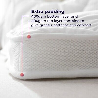 EXTRA DEEP FILLED Mattress Topper / Protector with Air Flow Mesh Panels