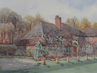 E Bash Smith Antique Architectural Watercolour Painting Country Cottage