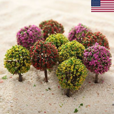 30 Mix Color Flower Ball Tree Model Train Garden Park Road Layout 1:100 US STOCK